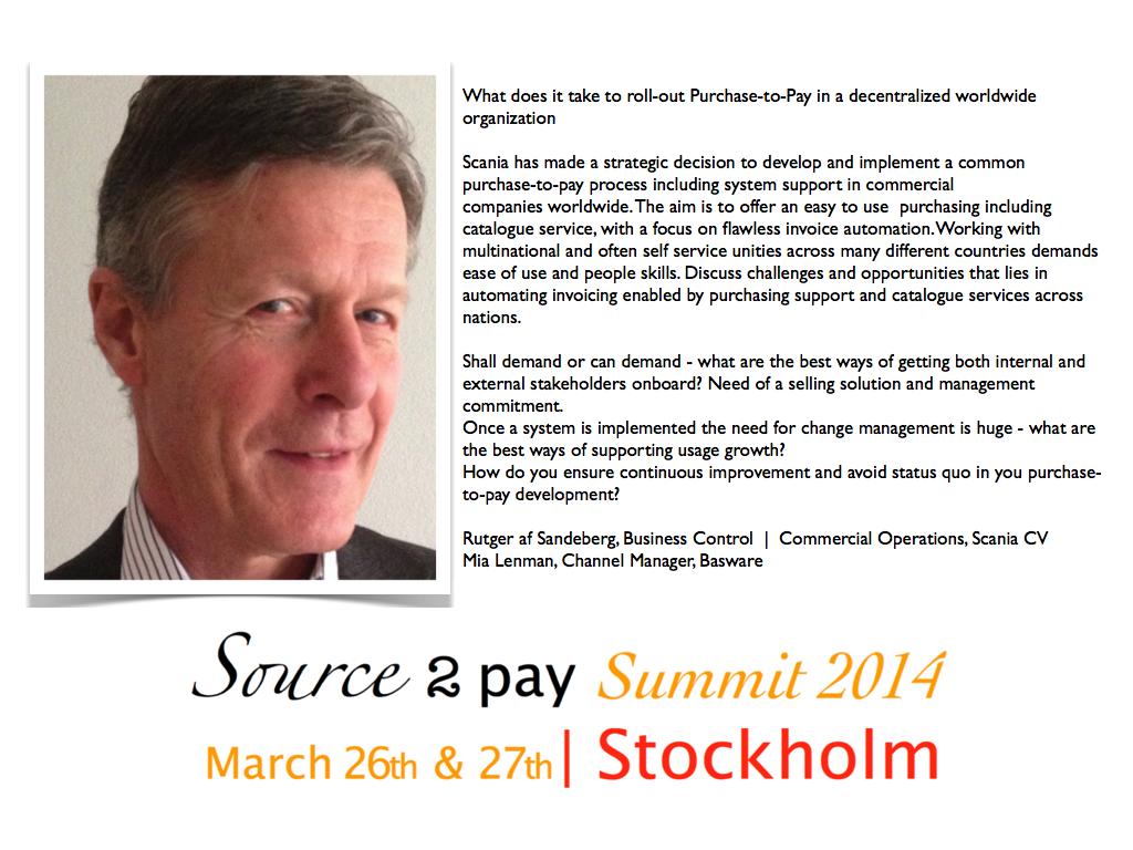 Rutger af Sandeberg Source to Pay Summit