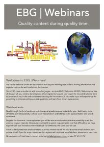 Overview webinars 2015